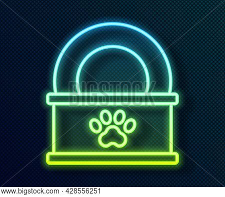 Glowing Neon Line Canned Food Icon Isolated On Black Background. Food For Animals. Pet Food Can. Vec