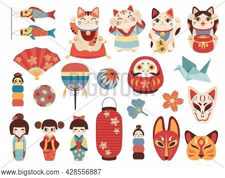 Japanese Toys. National Cultural Lucky Items, Asian Fortune Symbols, Daruma, Maneki Cat And Kokeshi