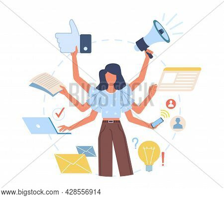 Multitasking Woman. Versatile Lady Effectively Decisive Multiple Cases At Same Time, Hands Perform A