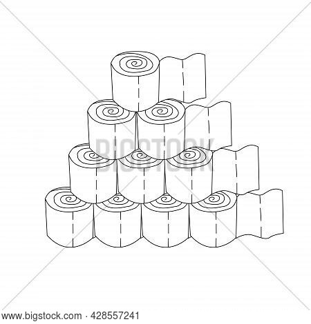 A Pyramid Of Toilet Paper Rolls. Toilet Paper In The Form Of A Pyramid Drawn With A Contour. Vector