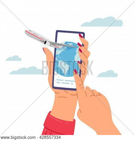 Choosing Tour By App. Female Hands Holding Smartphone, Earth Map And Plane On Screen, Online Ticket
