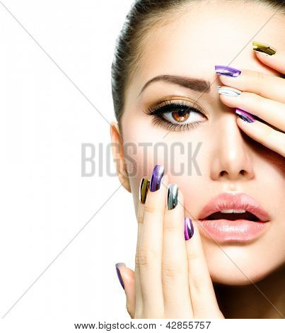 poster of Beautiful Fashion Girl's Face. Makeup. Make-up and Manicure. Nail Polish. Beauty Skin and Nails. Beauty Salon