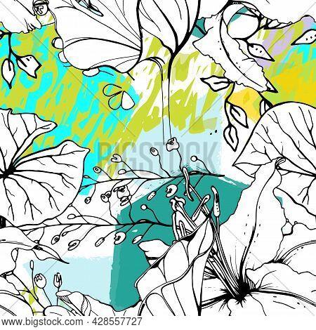 Floral Black White Print. Tropical Jungle Leaf On Geometric Brush Shapes. Modern Motif. Foliage Summ