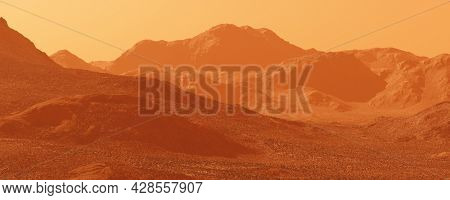 Mars planet landscape, 3d render of imaginary mars planet terrain, orange eroded desert with mountains and dust, realistic science fiction illustration.