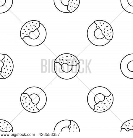Grey Line Donut With Sweet Glaze Icon Isolated Seamless Pattern On White Background. Vector