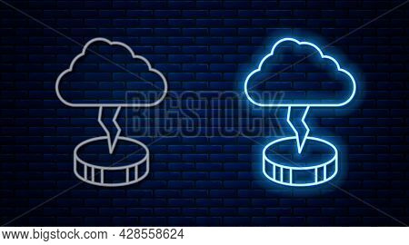Glowing Neon Line Storm Icon Isolated On Brick Wall Background. Cloud And Lightning Sign. Weather Ic