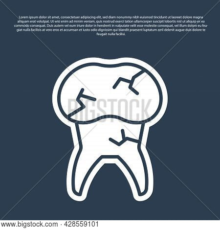 Blue Line Tooth With Caries Icon Isolated On Blue Background. Tooth Decay. Vector