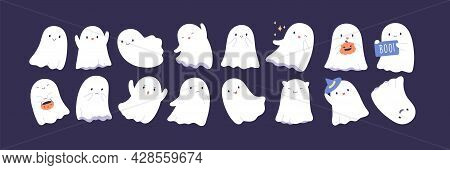 Set Of Cute Funny Happy Ghosts. Childish Spooky Boo Characters For Kids. Magic Scary Spirits With Di