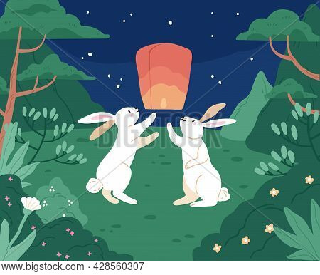 Moon Rabbits Launching Chinese Paper Lantern To Night Sky For Asian Mid-autumn Festival. Cute White