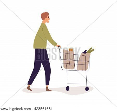 Person Pushing Shop Cart Full Of Bags With Groceries. Man Walking With Shopping Trolley. Profile Of