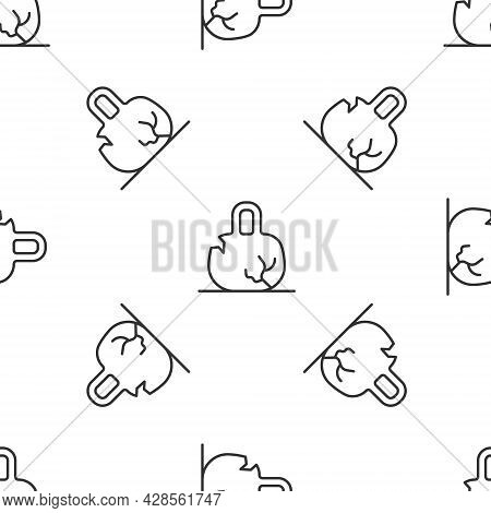 Grey Line Broken Weight Icon Isolated Seamless Pattern On White Background. Kilogram Weight Block Fo