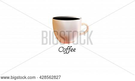 Realistic Coffee Cup Light Peach Or Pastel Pink Color Isolated On White Background.ideal Concept Fre