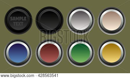 Set Of Round Buttons In Different Colors. Isolated Monochromatic Background.  Vector Illustration.