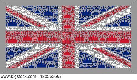 Mosaic Rectangle United Kingdom Flag Created With Royal Icons. Royalty Vector Mosaic United Kingdom