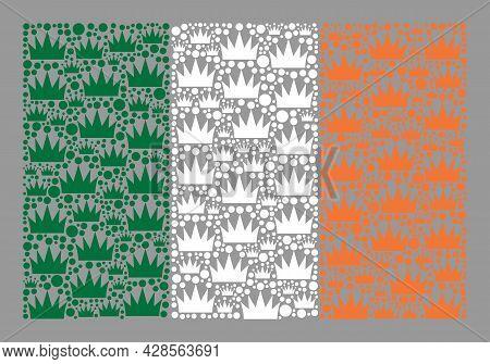 Mosaic Rectangular Ireland Flag Designed With Royal Items. Kingdom Vector Collage Ireland Flag Organ