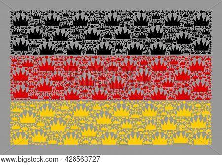 Mosaic Rectangle Germany Flag Designed Of Royal Elements. Royalty Vector Mosaic Germany Flag Designe