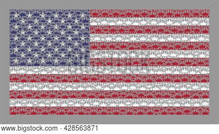 Mosaic Rectangle Usa Flag Designed With Royal Items. Royalty Vector Mosaic Usa Flag Constructed For