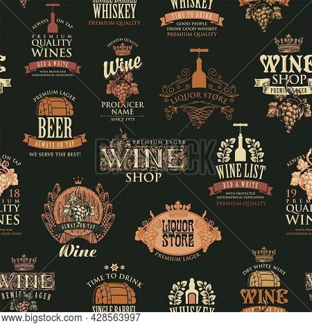Seamless Pattern On The Theme Of Wine, Beer, Whiskey. Retro-style Vector Background, Wallpaper, Wrap