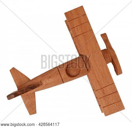Wooden vintage plane toy isolated on white background