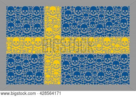 Mosaic Sweden Flag Created Of Skull Items. Mortal Vector Straight Collage Sweden Flag Created For Ha
