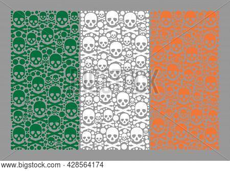 Mosaic Ireland Flag Designed With Toxic Elements. Death Vector Rectangular Mosaic Ireland Flag Desig