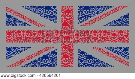 Mosaic Great Britain Flag Designed Of Toxic Items. Risk Vector Rectangle Collage Great Britain Flag