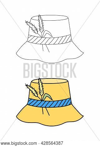 Panama Hat With A Ribbon And Spikelets Of Grass In A Flat Graphic Outline Style. Isolated Vector Sum