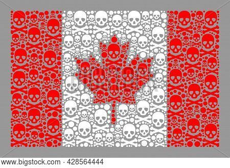 Mosaic Canada Flag Designed With Toxic Items. Mortal Vector Rectangle Collage Canada Flag Designed F