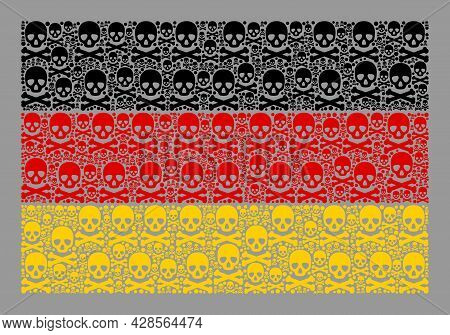 Mosaic Germany Flag Created With Piracy Icons. Mortal Vector Rectangle Mosaic Germany Flag Created F