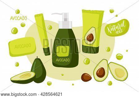 Natural Cosmetics With Avocado. Whole And Sliced Ripe Avocado Fruit, Cream Or Scrub, Shampoo Or Loti