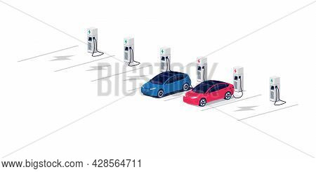 Electric Cars Charging On Empty Parking Lot Area With Fast Supercharger Station And Many Free Charge