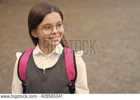 Nerdy Look. Happy Child Wear Eyeglasses In Uniform. Back To School Look. Cute Nerd. School Fashion.