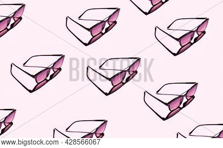 Black Eye Sunglasses Isolated On Pink Background With Contrasting Shadows With Copy Space. Pattern