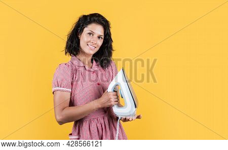 Female Ironing In Laundry Room. Cheerful Woman Presenting Product. Girl Launder Delivery To Customer