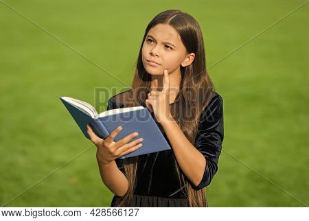 Serious Little Kid With Thoughtful Look Hold School Book Green Grass Sunny Summer Outdoors, Imaginat