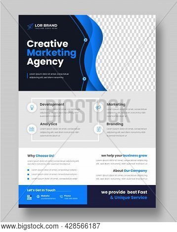 Corporate Business Flyer Template Design With Blue Color. Marketing, Business Proposal, Promotion, A