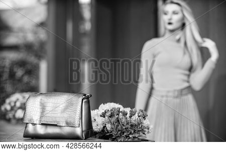 Matching Accessories. Gold Handbag For Woman, Selective Focus. Luxury Leather Purse. Sale Of Style.