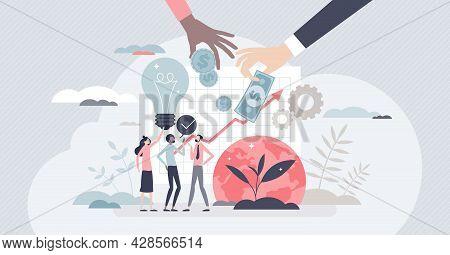 Social Entrepreneurship As Environmental Idea Funding Tiny Person Concept. Financing Business To Sol