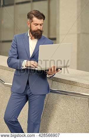 Never Out Of Style. Digital Technology In Modern Life. Good Internet Connection. Confident Businessm