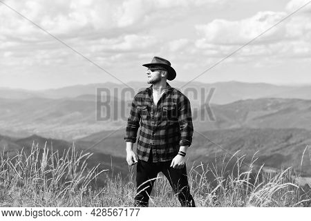 Mountain Calling And I Must Go. Man Brutal Ranger Stand On Top Of Mountain. Hiking Concept. Active L