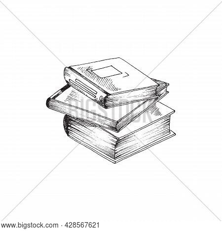 Stack Of Books Hand Drawn For Library, School Or University. Vector Illustration Of Three Books In D