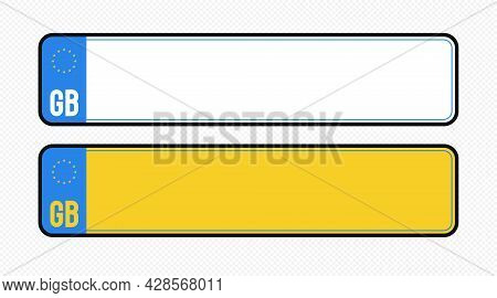 Great Britain Plate Templat Set Isolated On Transparent Background. United Kindom Car Plate Registra