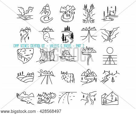 Set Of Mountain Valleys And Rivers Icons. Part 2