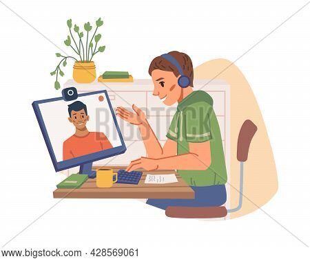 Teenager Communicating With Friend On Computer By Video Camera Isolated Flat Cartoon Character. Vect