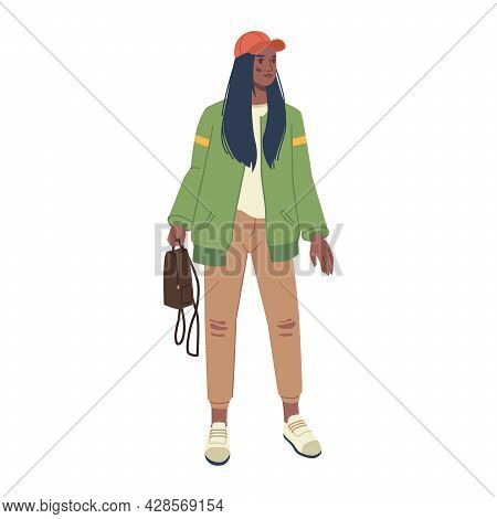 Stylish Modern Women In Fashion Clothes Isolated Flat Cartoon Character. Vector Spring And Autumn Vo