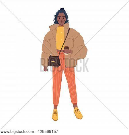 Woman In Fashionable Urban Outfits, Stylish Bag, Oversize Jacket And Orange Pants Isolated Flat Cart