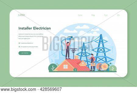 Installer Web Banner Or Landing Page. Worker In Uniform Installing Constructions