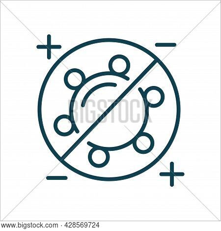 Virus Crossed Out Line Icon Isolated Vector. Fight With Virus.editable Stroke Symbol. Vaccines Again