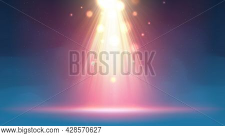 Background With Fog Spotlight. Illuminated Blue Gold Smoky Scene. Backdrop For Displaying Products.