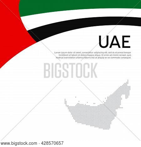 Abstract Waving Flag Mosaic Map Of United Arab Emirates. Creative Background For Design Of Patriotic